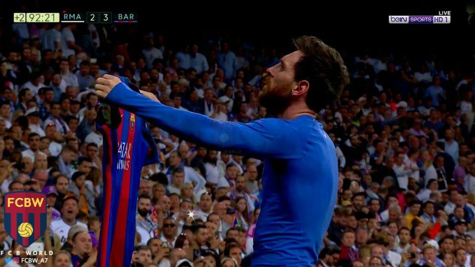 Messi camisa Santiago Bernabeu Barcelona