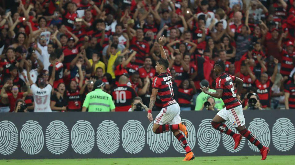Lucas Paquetá Flamengo comemorando gol Maracanã 2018 Internacional