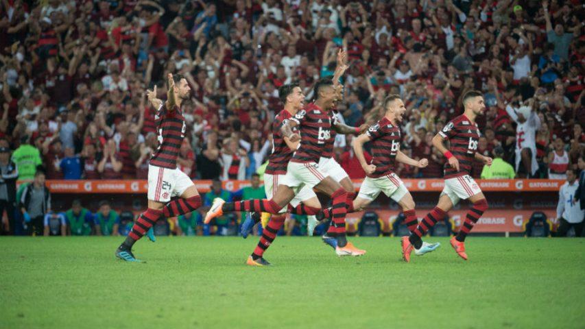 Flamengo comemoração classificação Emelec Libertadores 2019