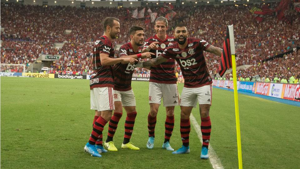 Flamengo comemorando Palmeiras