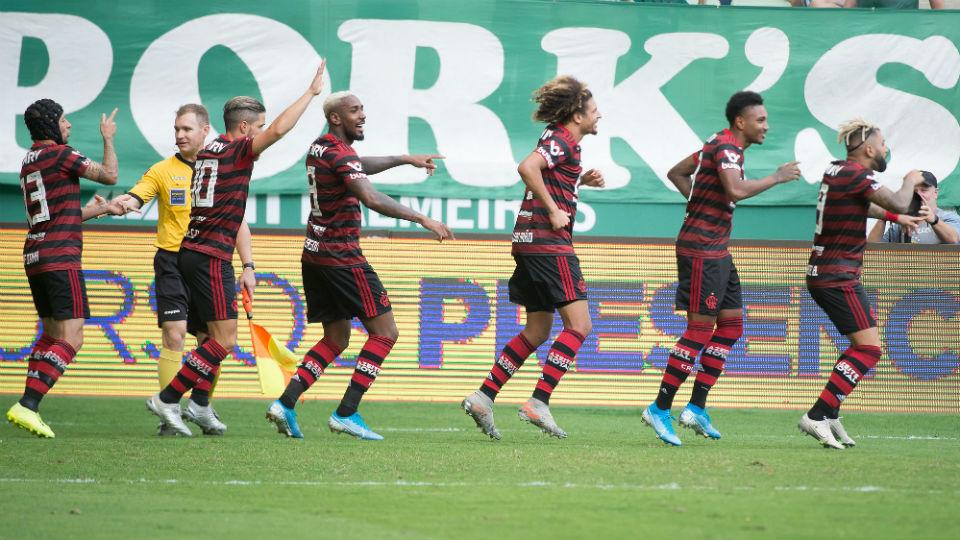 Flamengo gol comemoração Palmeiras Brasileiro 2019 Allianz Parque